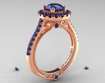 Caravaggio 14K Rose Gold 2.0 Ct Chrysoberyl Alexandrite Engagement Ring, Wedding Ring R621-14KRG2AL