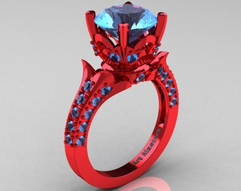 classic french 14k red gold 30 ct blue topaz solitaire wedding ring r401 14krgbt - Red Wedding Rings