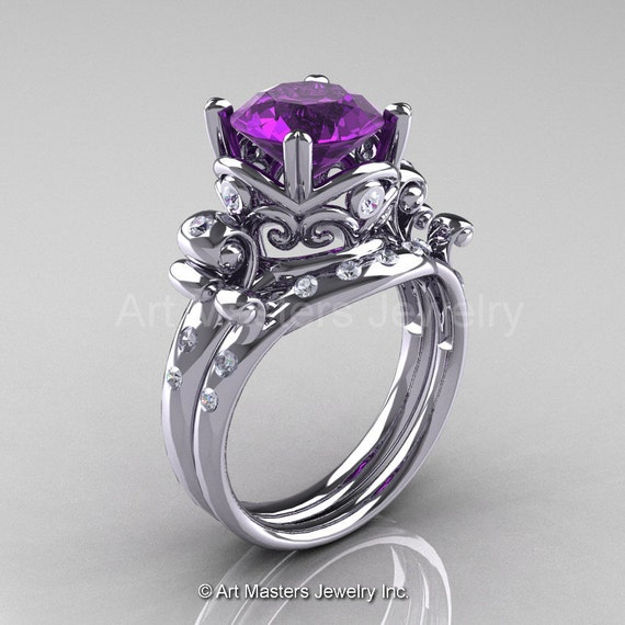 Art Masters Vintage 14K White Gold 3 0 Ct Amethyst Diamond Wedding Ring Set R