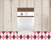 Personalized - 4 Printable Treat Bag Toppers - Pink Sock Monkey - Pink Argyle, Pink Polka Dots and Chocolate Brown Dots - Birthday