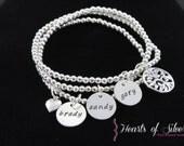 Stacking Mothers Charm Bracelet- Hand Stamped Mommy Jewelry- Beaded Charm Bracelet- Sterling Silver Bracelet