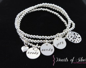 Stacking Mothers Charm Bracelet- Hand Stamped Mommy Jewelry- Beaded Charm Bracelet- Sterling Silver Bracelet