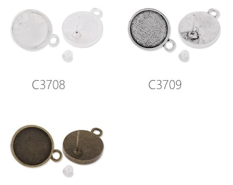 20PCS earring with a 14mm bezel,earring blank,fit 14mm round cabochons