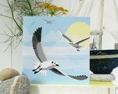 Flying Seagull Card - Blank, British Seaside