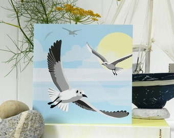 Flying Seagull Card - Blank, British Seaside, blank, birthday card