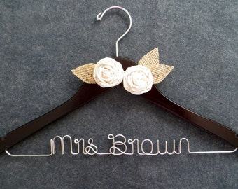 RUSTIC Wedding Dress Hanger, Personalized Hanger, Burlap Hanger, Custom Bride Gift, Mrs Hanger, Barn Wedding, Woodland Wedding, Shower Gift