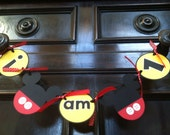 Mickey Mouse I Am One High Chair Banner Photo Prop Birthday Decoration