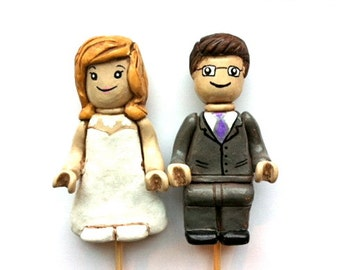 Personalized Lego Couple Wedding Cake topper polymer clay GEEK wedding