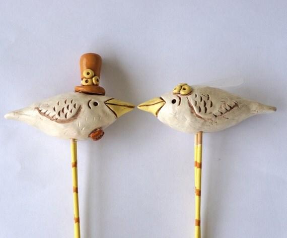 Natural Birds In Love Wedding Cake Topper