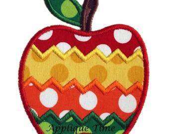 Instant Download Chevron Apple Machine Embroidery Applique Design 4x4, 5x7 and 6x10
