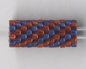 Woven Glass Bead Tube 6mm/o-2mm/i Ruby.red-Medium.blue ... ... ... ... ... ... ... 12x08 ... ... ... ... (11-9-399)*