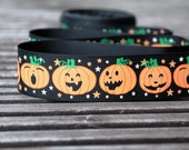 "2 yards of  Halloween Pumpkin grosgrain ribbon 22mm (7/8"") Wide for hair bows,card making,scrapbooking etc"