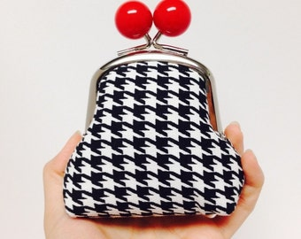 Gift for Her Big Bobble Houndstooth Coin Pouch Ready to Ship