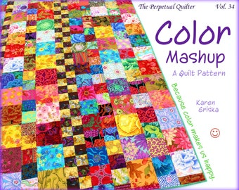 Color Mashup Quilt Pattern, Easy Quilt Pattern, One-Patch Quilt, Scrap Quilt, pdf, qtm, immediate download