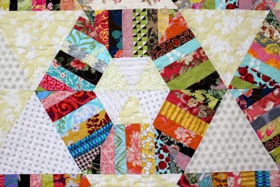Modern Quilt Patterns Free Download : Honeycomb Quilt Pattern, String quilt pattern, Modern quilt pattern, Twin quilt pattern, Instant ...