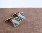 Vintage 60's Square Cuff Links in Navy Blue & Seafoam Green Stripe