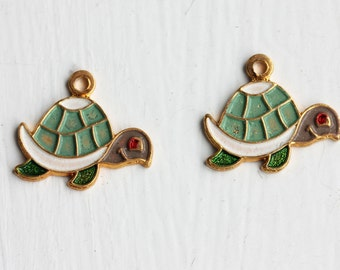 Green Turtle Charms (2x)