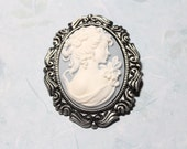 SALE...Cameo Brooch Gift Idea For Her Blue and White Pin Victorian Brooch Cameo Pin