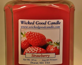 Glass Jar Candle Soy Paraffin Blend - Strawberry