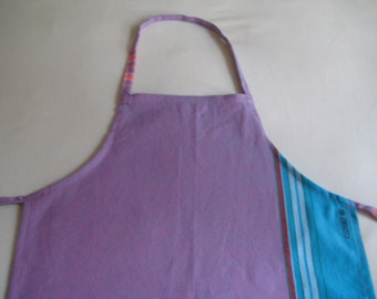 Child Apron in Purple and Aqua, Traditional Kikoy fabric, Kids small