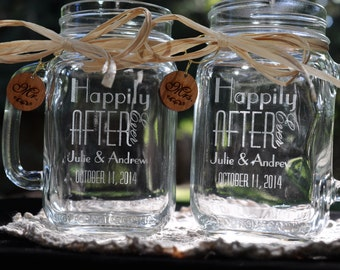 Wedding Favors Mason Jars, Happily Ever After Personalized Mugs - Personalized with Names and Dates Toasting Glasses