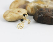 Gold Swirl Wire Wrapped Toe Ring, Adjustable Knuckle Ring TRG102