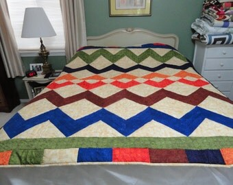 Hand Quilted 70 x 76 colorful quilt by Karrirose
