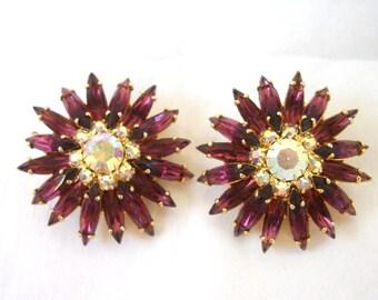 Vintage  Purple STARBURST  Earrings ~ Rhinestones Navettes ~  Clip on ~ Large Size ~ AB