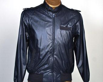 Mens vintage bomber jacket / windbreaker navy vintage faux leather S