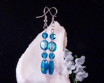 Blue Earrings - Glass Beaded Earrings - Blue Dangling Earrings - Blue Jewelry - Blue Handmade Costume Jewelry - Free Shipping - Made in USA