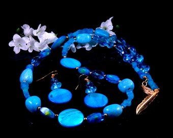 Blue Necklace Earring Set - Blue Earrings - Mother of Pearl Shell Beaded Jewelry Set - Handmade Costume Jewelry - Free Shipping Made in USA