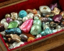 Watercolor Mix: Freshwater Pearl Grab Bag / Assorted Colors, Shapes, Sizes / Dazzling Natural Jewelry Making, Craft Supplies, Loose Beads