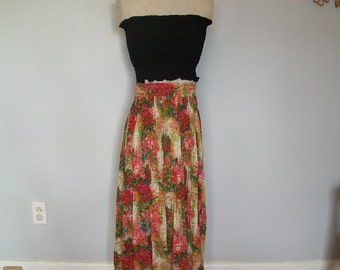 SALE 70's Sheer Floral bohemian Maxi Skirt (( Size Small, Medium, Large)
