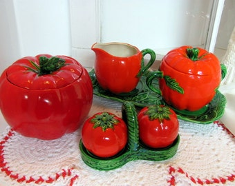 Tomato Ware Covered Dish / Salt and Pepper / Creamer and Sugar with Under Plates / Occupied Japan