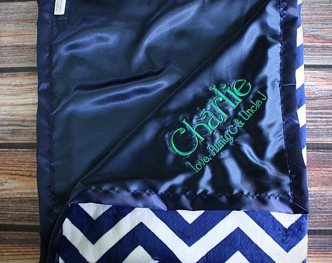 Baby Blanket, Chevron blanket, boy blanket, embroidered blanket, personalized blanket, blanket with name, navy blue and white, soft blanket