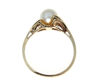 Asymmetrical Pearl Solitaire Ring 10k Gold   June Birthstone   Cultured Pearl   Size 7.75   Vintage Gold Pearl Ring   Estate Pearl Ring