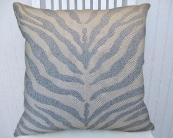 "Animal Print Pillow Cover 18""  20""  22"" -Duralee Zebra Throw Pillow-- Sky Blue, Baby Blue, Zebra Stripes"