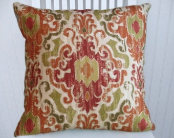 Designer Ikat Pillow Cover 18x18 or 20x20 or 22x22-Duralee Accent Pillow Red Orange Green