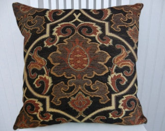 Black Suzani Throw Pillow-18x18 or 20x20 or 22x22- Accent Pillow Cover Brick Red, Brown