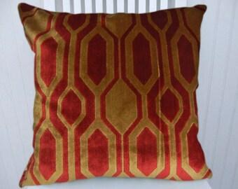 Red Gold Velvet Pillow Cover- NEW!! Geometric Velvet Pillow Cover--18x18 or 20x20 or 22x22- Accent Pillow