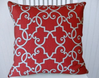 Red  and White  Pillow Cover--Decorative Pillow Cover, Filigree Pattern, Accent Pillow, Throw Pillow - Decorative Accent Pillow