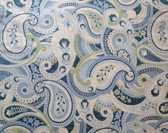Paisley Cotton Fabric Misty Blue Green Large Paisley Print Timeless Treasures Fat Quarter/Metre FREE UK POSTAGE