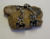 Faceted Black Glass Bead Chandelier Clip on Earrings
