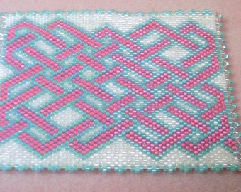Beaded ACEO Mat - Glass Delica Seed Beads - Celtic Magenta Pink and Aqua- OOAK 1250