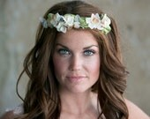 Ivory and Yellow Flower Circlet Floral Wreath, White petals, velvet vintage millinery leaves & flowers
