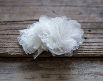 Full Lacey Ivory Flower Hair Clip - Bridal Wedding Hairpiece - FA134