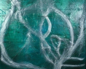 Everyone Has an Opinioin Silver Turquoise Blue Green Metallic Textured Abstract Expressionist Painting 48x72 4x6