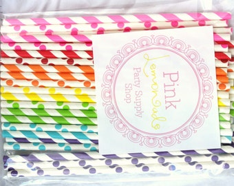 BRIGHT Rainbow Dots and STripes--Paper Straws--35ct with Free Printable diy Flags