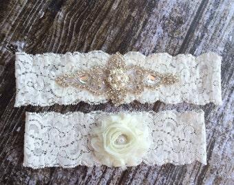 Rhinestone and Pearl Garter Set / bridal garter/ lace garter / toss garter / vintage / Shabby Chic