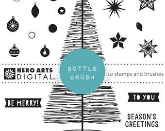 Hero Arts Retro Holiday DK124  Bottle Brush Instant download